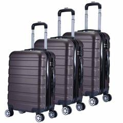 Milano XPander 3pc ABS Luggage Suitcase Luxury Hard Case Shockproof Travel Set - Brown