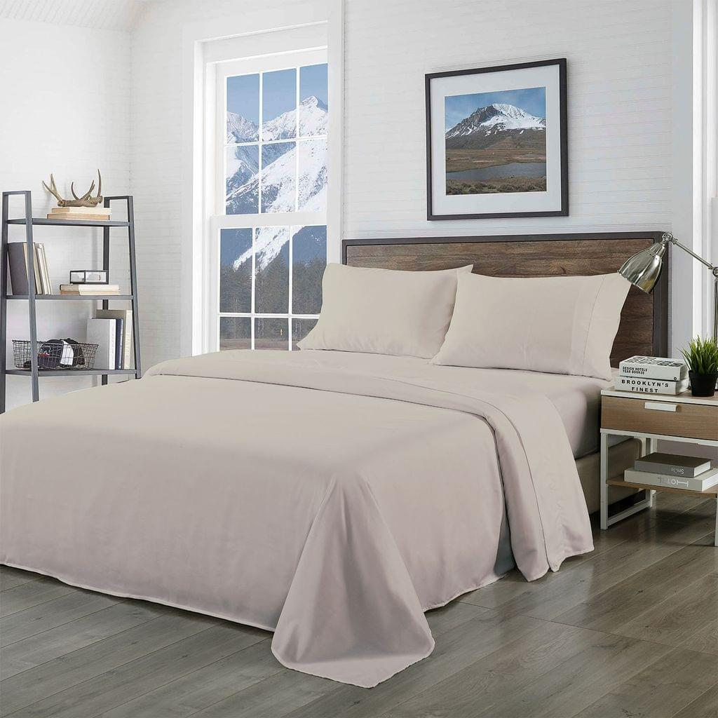 Royal Comfort Bamboo Blended Sheet & Pillowcases Set 1000TC Ultra Soft Bedding - Double - Warm Grey