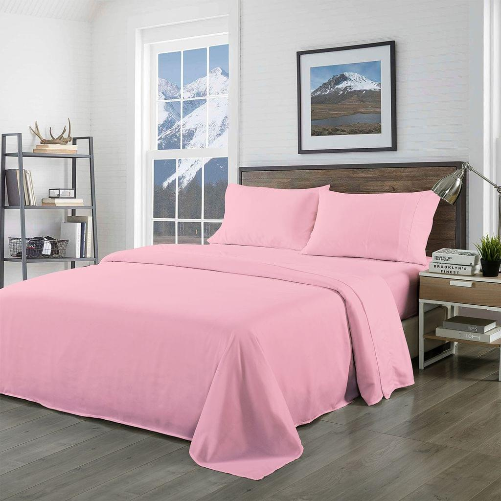 Royal Comfort Bamboo Blended Sheet & Pillowcases Set 1000TC Ultra Soft Bedding - King - Blush