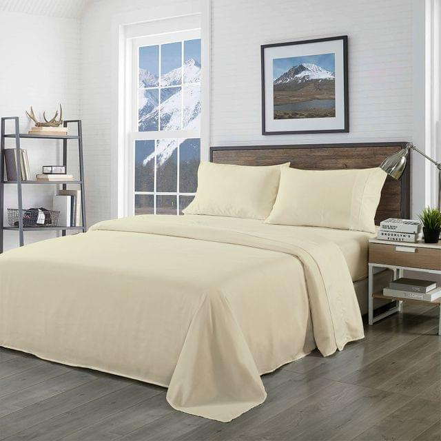 (KING) Royal Comfort Bamboo Blended Sheet & Pillowcases Set 1000TC Ultra Soft Bedding  - Ivory