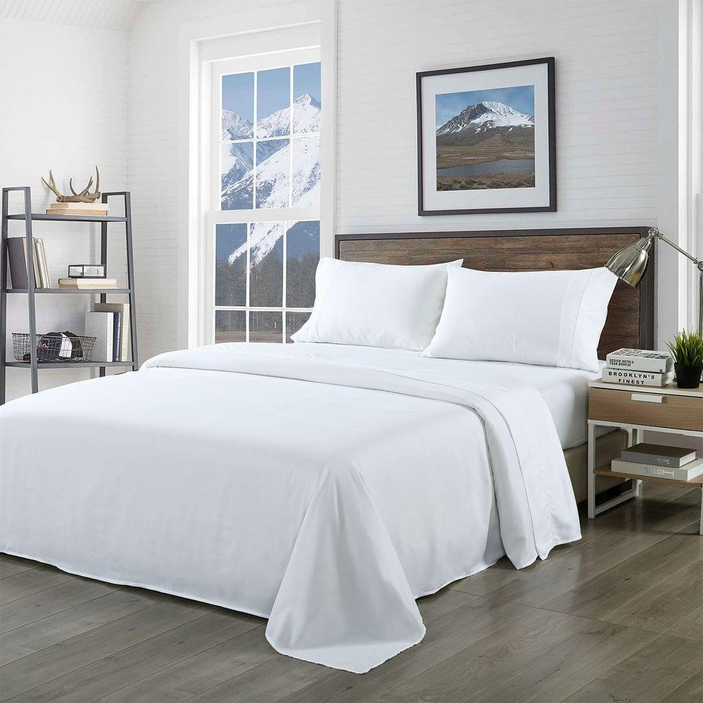 (QUEEN) Royal Comfort Bamboo Blended Sheet & Pillowcases Set 1000TC Ultra Soft Bedding  - White