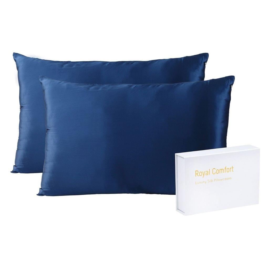 Royal Comfort Mulberry Soft Silk Hypoallergenic Pillowcase Twin Pack 51 x 76cm - Navy