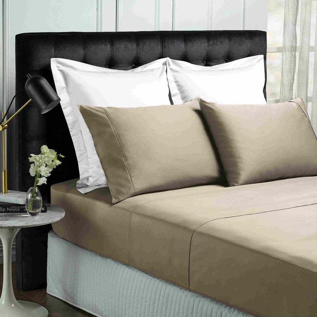 Park Avenue 500TC Soft Natural Bamboo Cotton Sheet Set Breathable Bedding - Single - Pewter