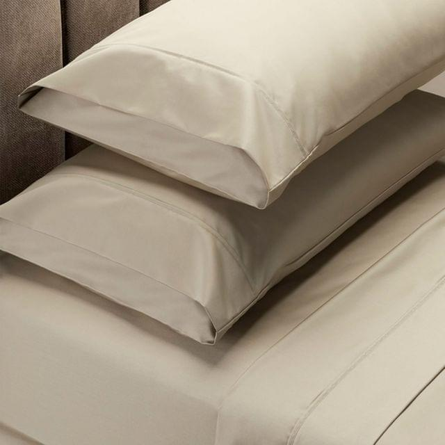 (KING) RC Bed Sheets Set 1000TC Soft Touch Cotton Blend Flat Fitted  - Pebble