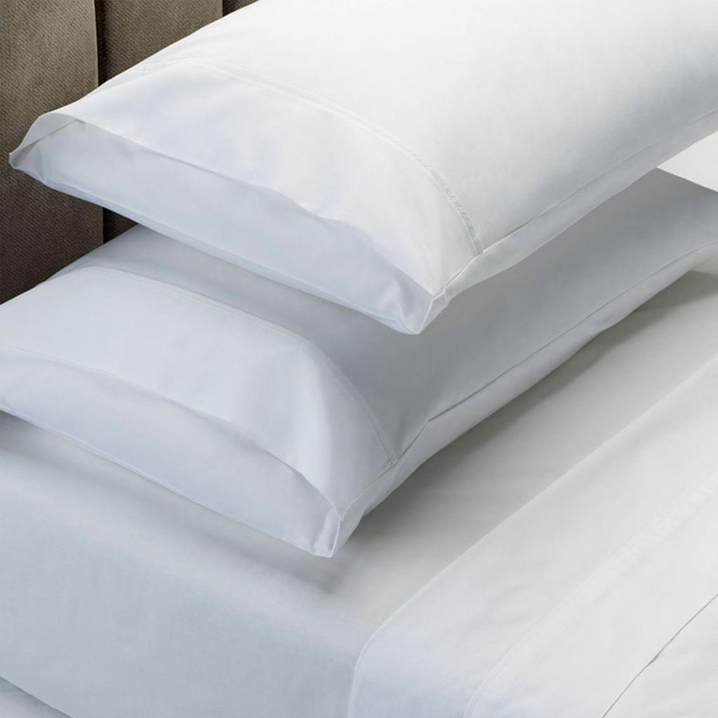 (KING)RC Bed Sheets Set 1000TC Soft Touch Cotton Blend Flat Fitted  - White