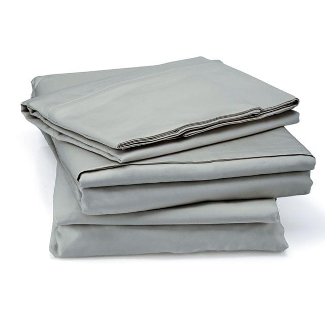 RC Bed Sheets Set 1000TC Soft Touch Cotton Blend Flat Fitted Double/Queen/King - Queen - Silver