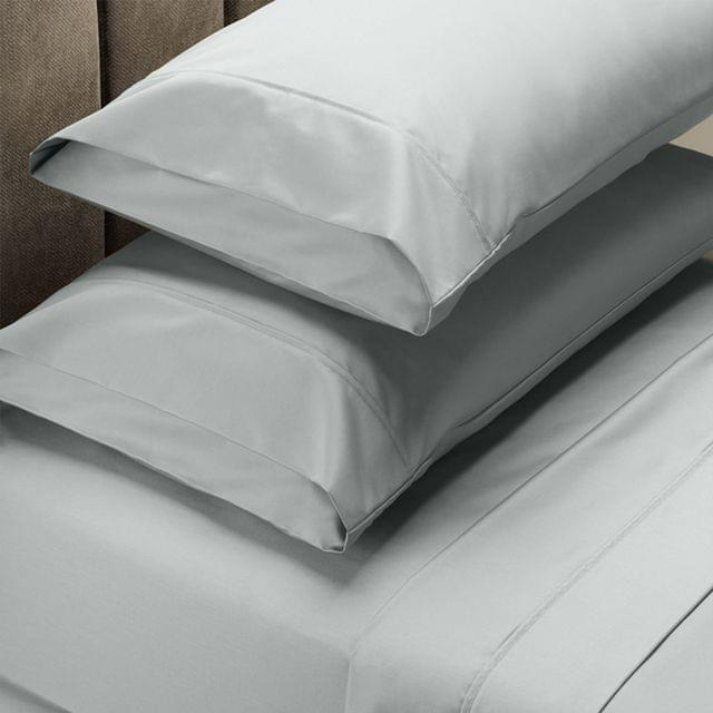 RC Bed Sheets Set 1000TC Soft Touch Cotton Blend Flat Fitted Queen - Silver