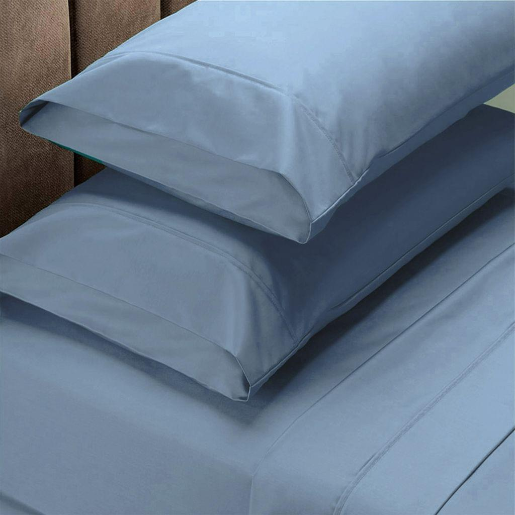 Renee Taylor 1500 Thread Count Pure Soft Cotton Blend Flat & Fitted Sheet Set  Indigo