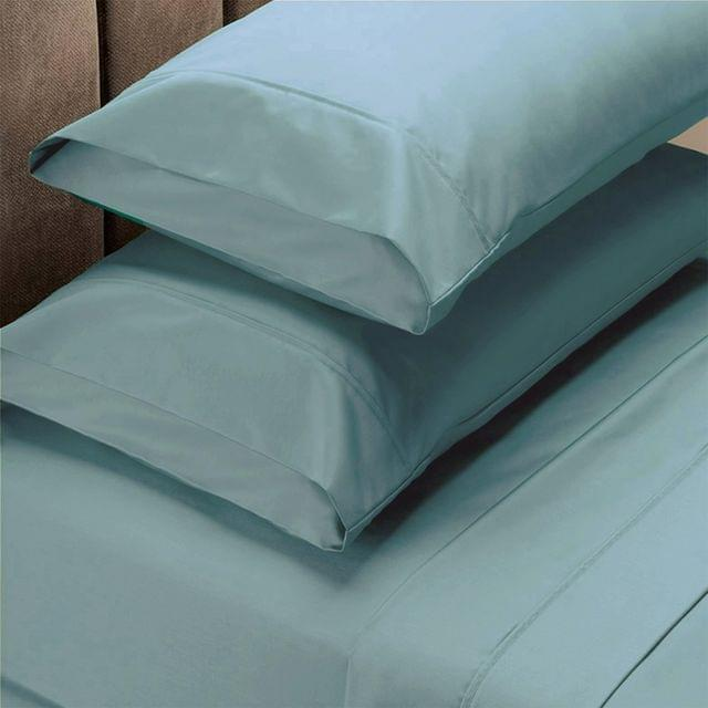 Renee Taylor 1500 Thread Count Pure Soft Cotton Blend Flat & Fitted Sheet Set  Mist