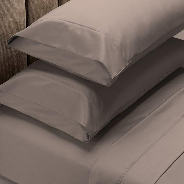 Renee Taylor 1500 Thread Count Pure Soft Cotton Blend Flat & Fitted Sheet Set  Stone