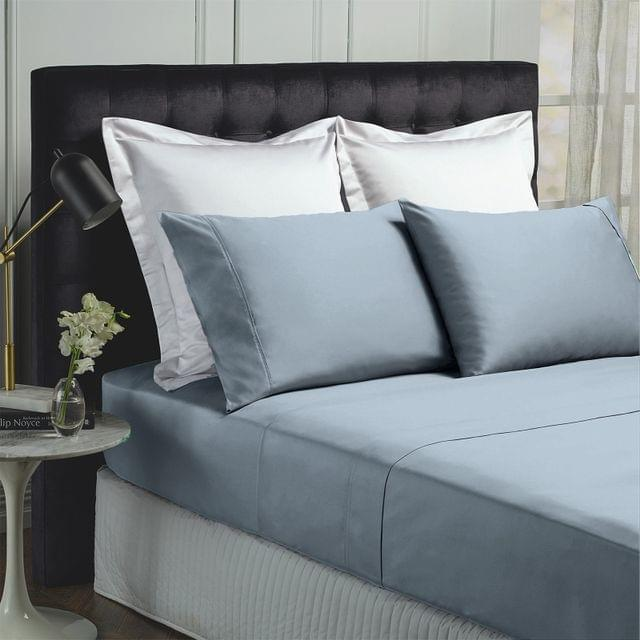 Royal Comfort 1000TC Hotel Grade Bamboo Cotton Sheets Pillowcases Set Ultrasoft - King - Blue Fog