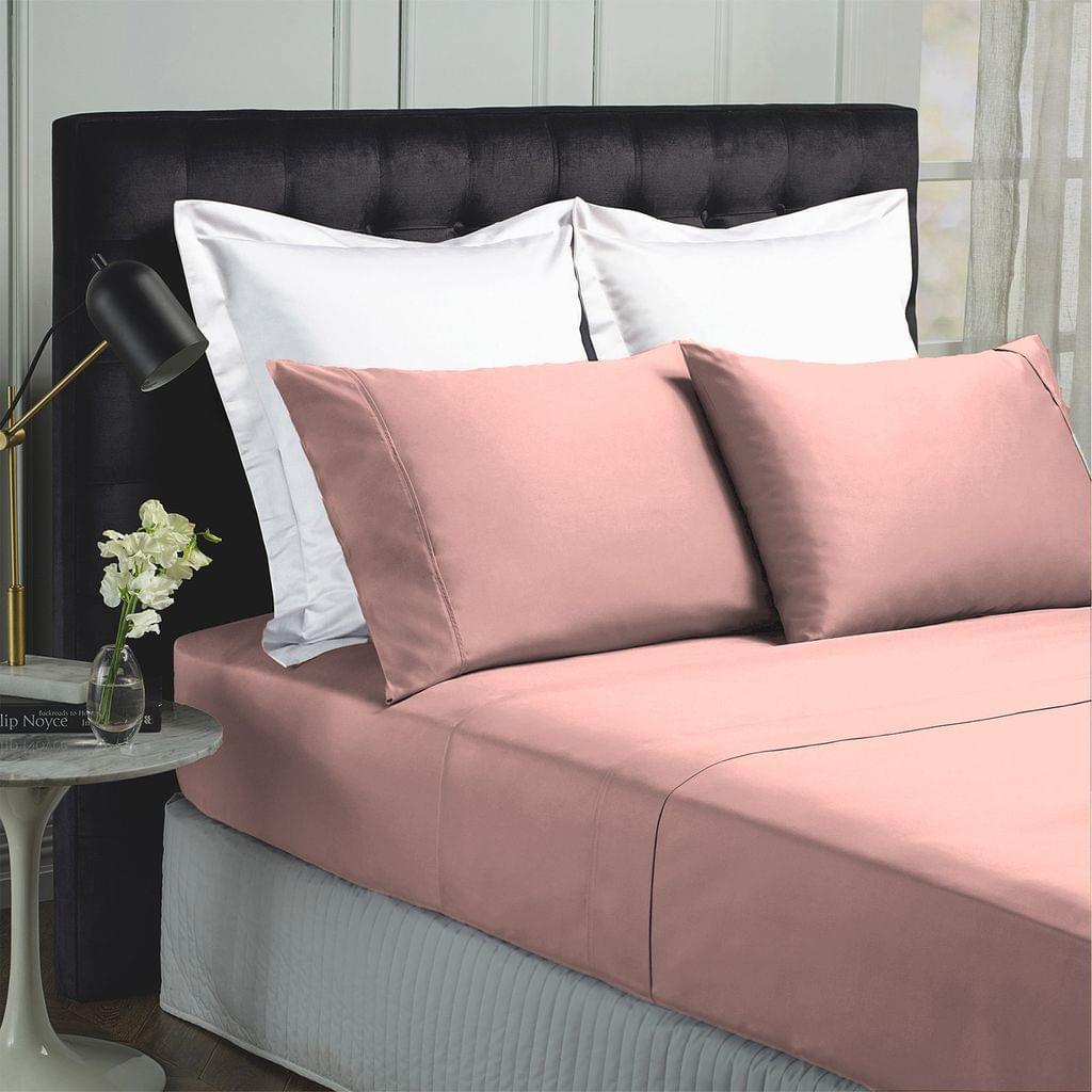 Royal Comfort 1000TC Hotel Grade Bamboo Cotton Sheets Pillowcases Set Ultrasoft - Queen - Blush