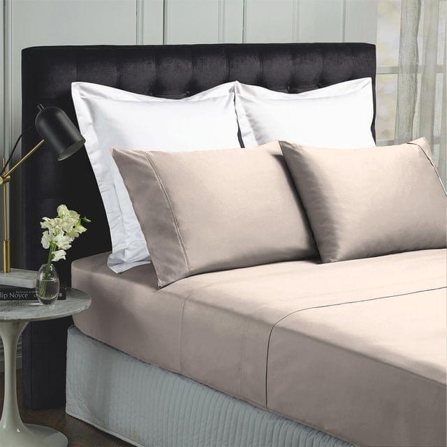Royal Comfort 1000TC Hotel Grade Bamboo Cotton Sheets Pillowcases Set Ultrasoft - Queen - Dove