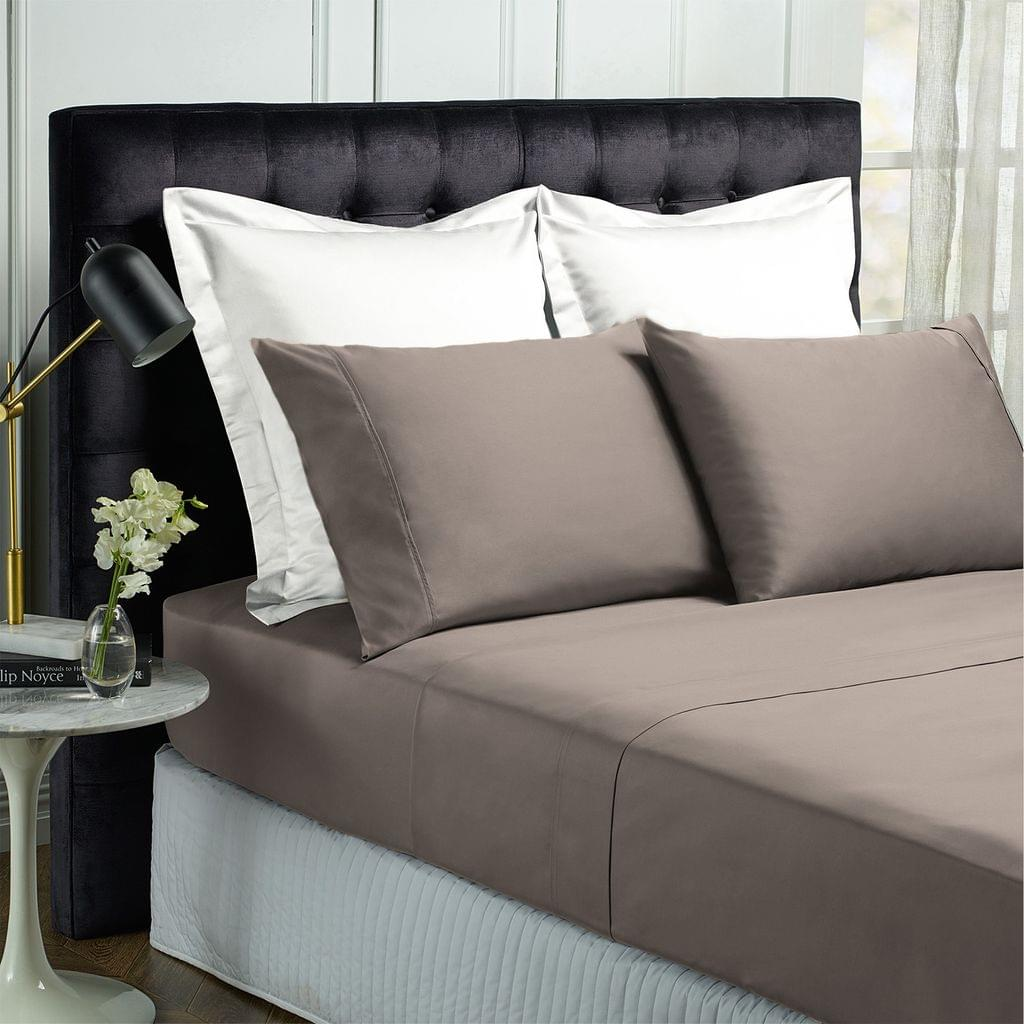 Royal Comfort 1000TC Hotel Grade Bamboo Cotton Sheets Pillowcases Set Ultrasoft - Queen - Pewter