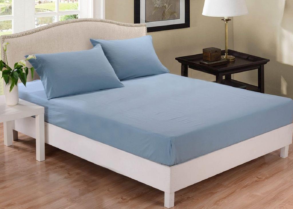 Park Avenue 1000 Thread Count Cotton Blend Combo Set Queen Bed - Blue Fog