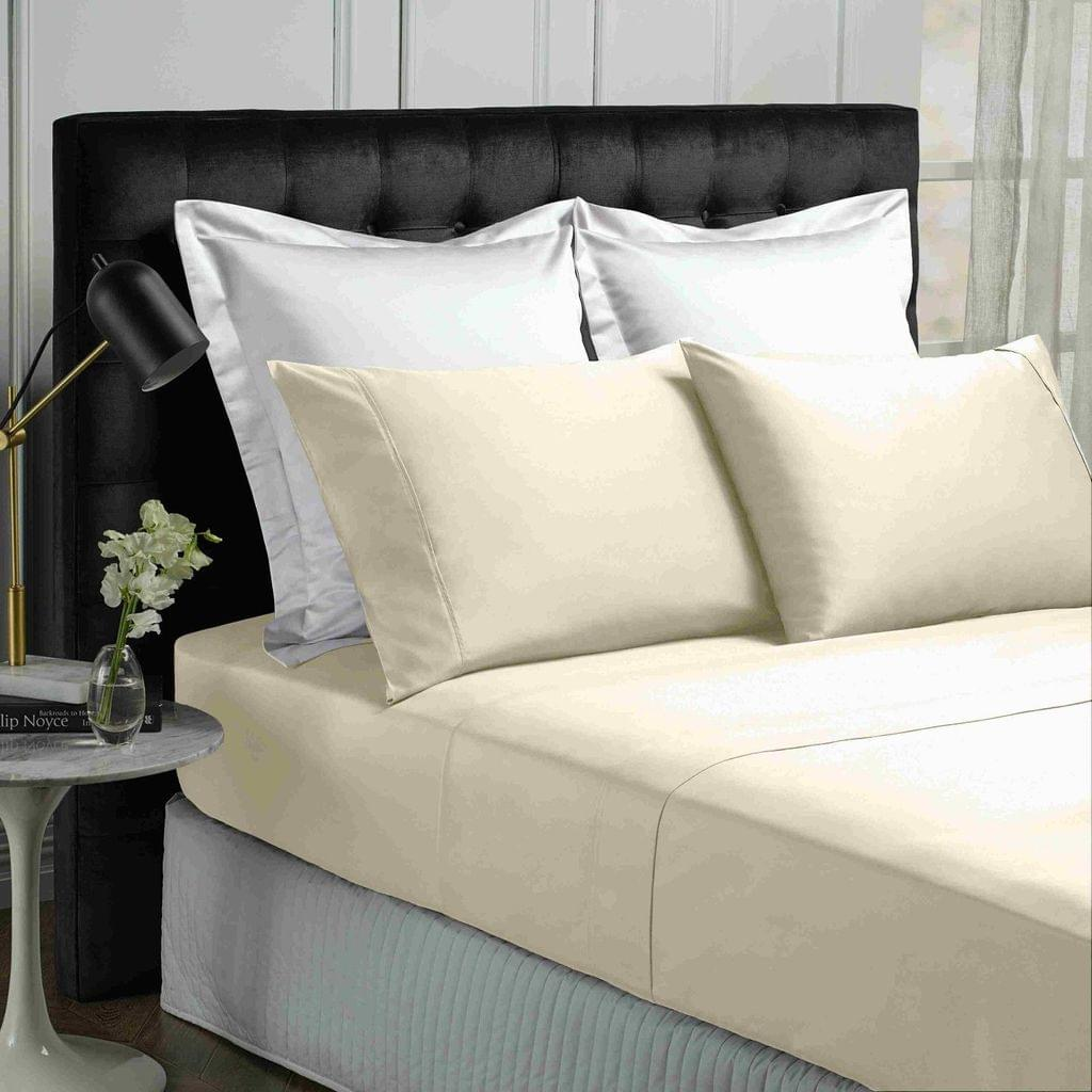 Park Avenue 500TC Soft Natural Bamboo Cotton Sheet Set Breathable Bedding - Double - Vanilla