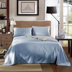 Kensington 1200TC 100% Egyptian Cotton Sheet Set Stripe Luxury MK/K/MQ/Q/D/S - Double - Chambray Blue