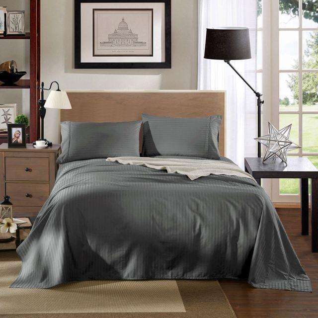 Kensington 1200TC 100% Egyptian Cotton Sheet Set Stripe Luxury - Double - Charcoal