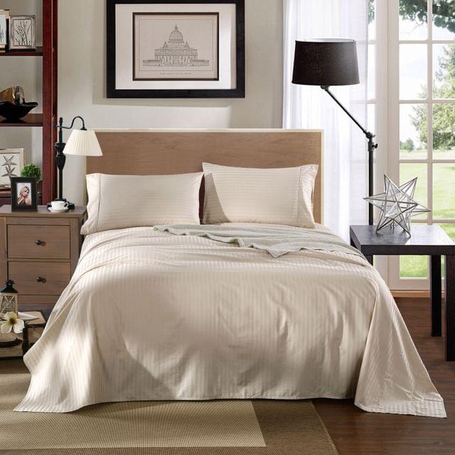 Kensington 1200TC 100% Egyptian Cotton Sheet Set Stripe Luxury - Double - Sand