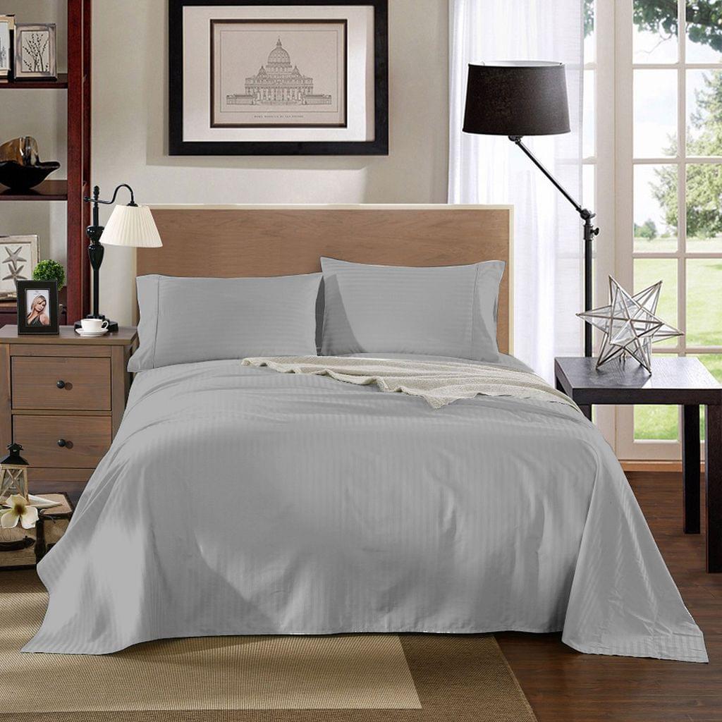 Kensington 1200TC 100% Egyptian Cotton Sheet Set Stripe Luxury - Queen - Silver