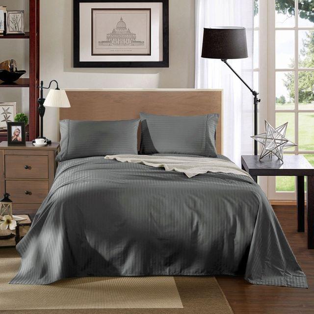 Kensington 1200TC Cotton Sheet Set In Stripe King Size Bedding Cover - Charcoal