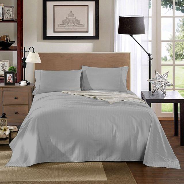 Kensington 1200TC Cotton Sheet Set In Stripe King Size Bedding Cover - Silver