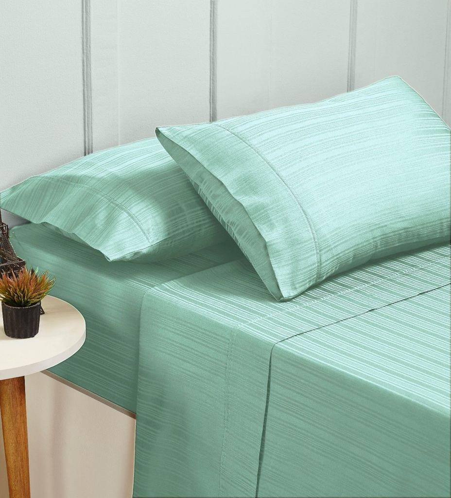 New Bed Sheets Set 1000TC Cotton Blend Flat Fitted - King - Sprout Green