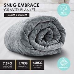 Premium Weighted Snug Ultra Soft Gravity Blanket Adults Kids Various Sizes - 7.3 Kg (106cm x 203cm) - Dark Grey