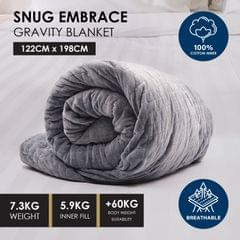 Premium Weighted Snug Ultra Soft Gravity Blanket Adults Kids Various Sizes - 7.3 Kg (122cm x 198cm) - Dark Grey