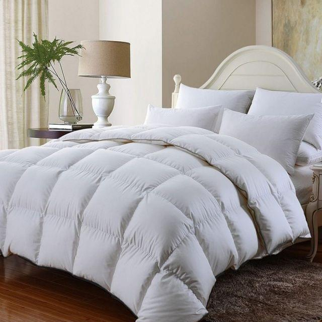 (SINGLE)Royal Comfort 350GSM Luxury Soft Bamboo All-Seasons Quilt Duvet Doona All Sizes - Single - White