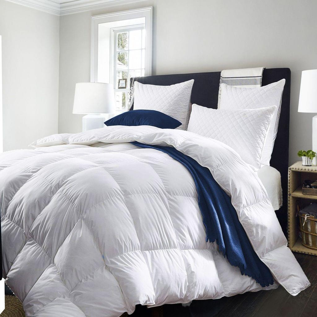 Royal Comfort Quilt 50% Duck Down 50% Duck Feather 233TC Cotton Pure Soft Duvet - King - White