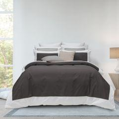Renee Taylor 1000TC Quilt Cover Set Cotton Rich Soft Touch Ascot Hotel Grade - Queen - Coal