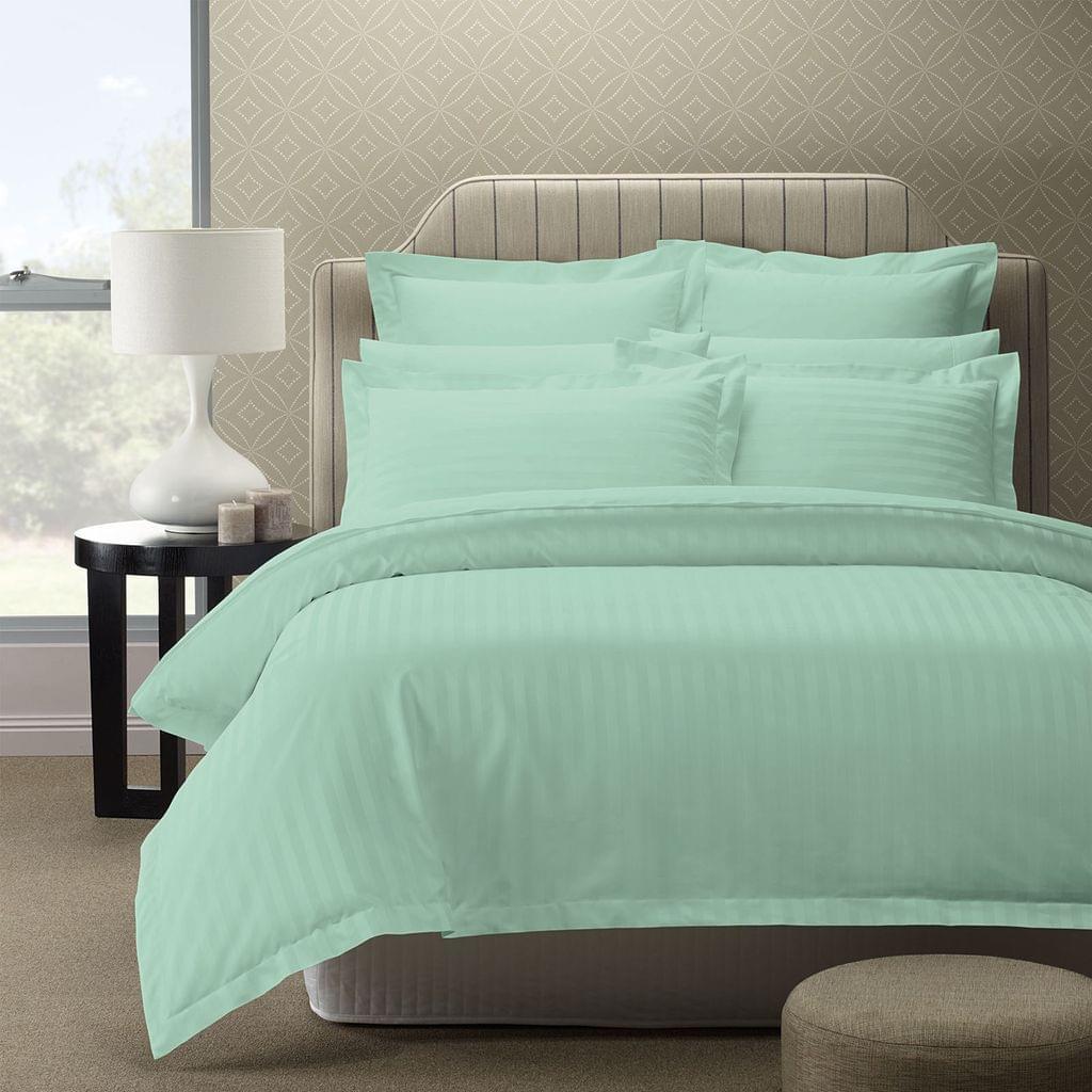 (QUEEN) Royal Comfort 1200TC Luxury Sateen Damask Stripe Cotton Blend Quilt Cover Set  - Mist