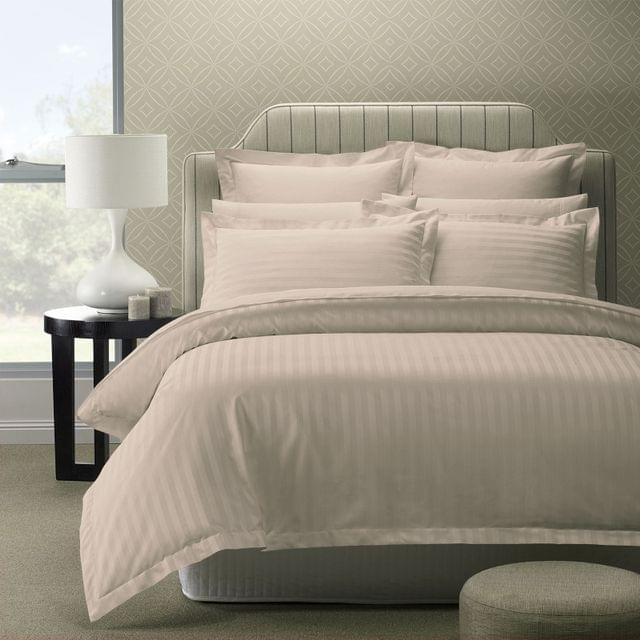Royal Comfort 1200TC Luxury Sateen Damask Stripe Cotton Blend Quilt Cover Set - Queen - Silver