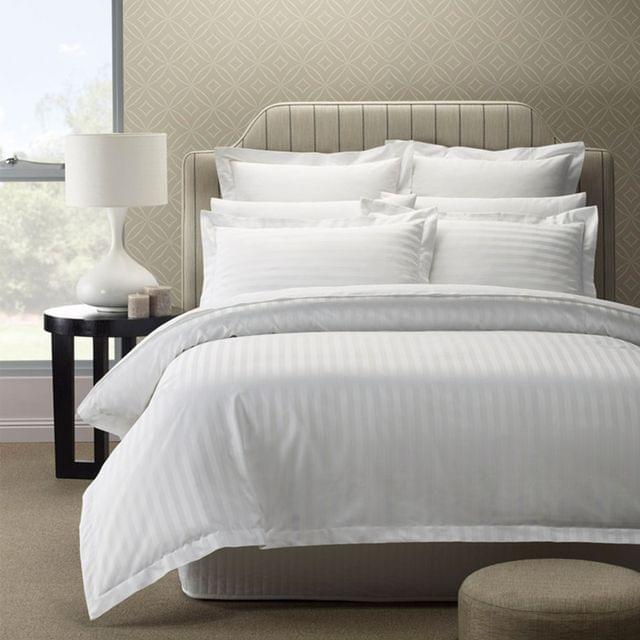 Royal Comfort 1200TC Luxury Sateen Damask Stripe Cotton Blend Quilt Cover Set - Queen - White