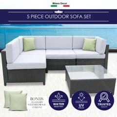 Milano Outdoor 5pc Outdoor Lounge Sofa Set Rattan Furniture Poolside Wicker