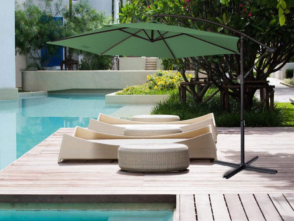 NEW Milano 3M Outdoor Sun Umbrella Patio Garden Beach Crank Tilt Polyester - Green