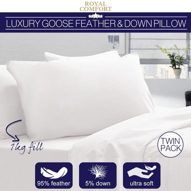 Royal Comfort Goose Down Feather Standard Size Twin Pillowcase Cotton 1000GSM
