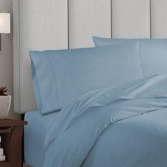 Balmain 1000 Thread Count Hotel Grade Bamboo Cotton Quilt Cover Pillowcases Set - Queen - Blue Fog