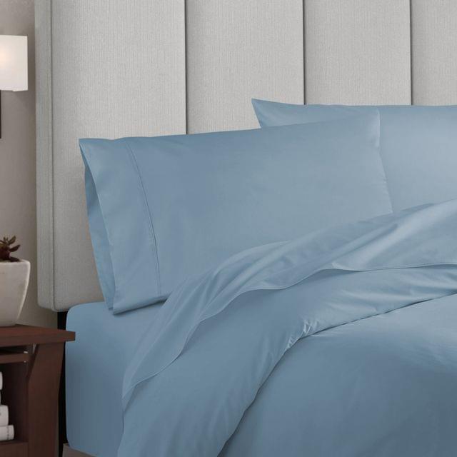 Balmain 1000 Thread Count Hotel Grade Bamboo Cotton Quilt Cover Pillowcases Set - Queen - Blue Fog