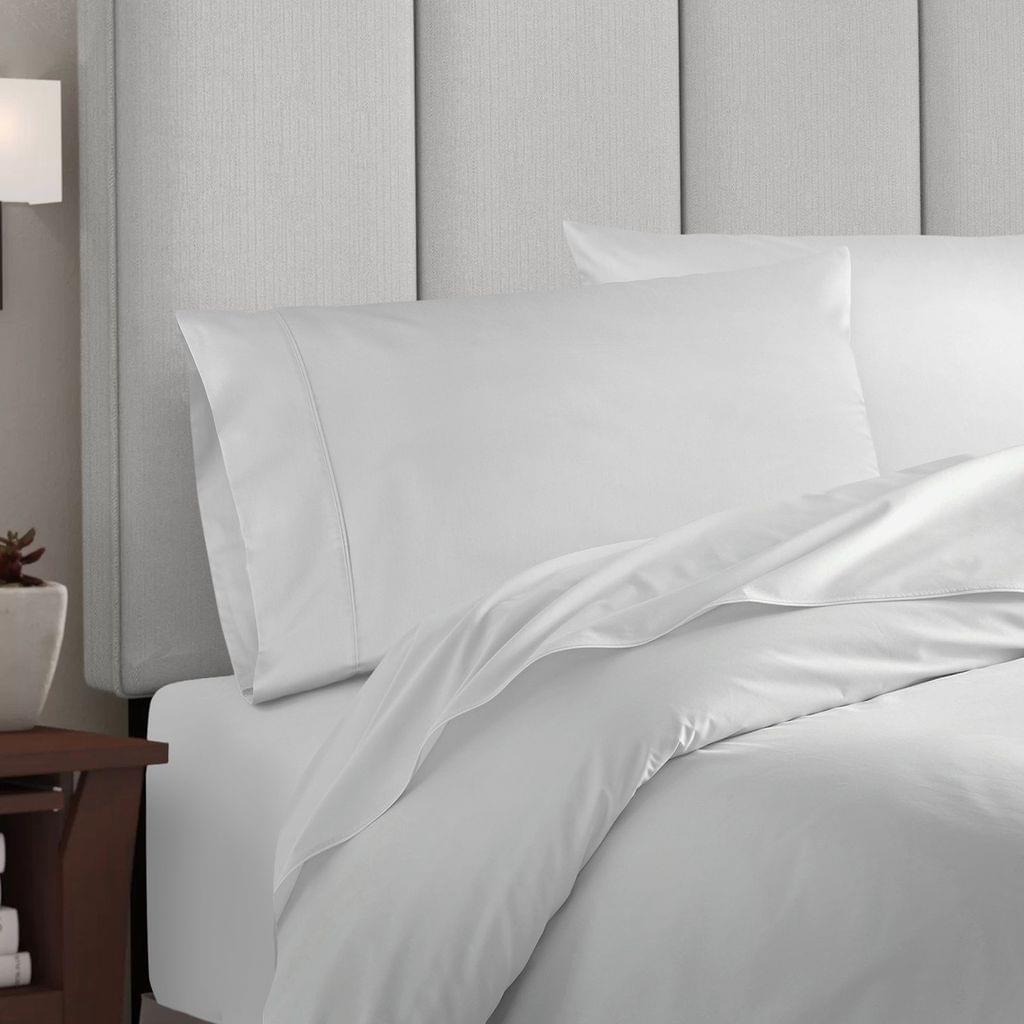 Balmain 1000 Thread Count Hotel Grade Bamboo Cotton Quilt Cover Pillowcases Set - Queen - White
