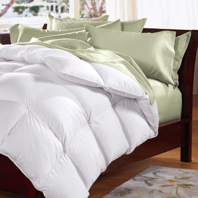 Goose Feather & Down Quilt 500GSM + Goose Feather and Down Pillows 2 Pack Combo - Double