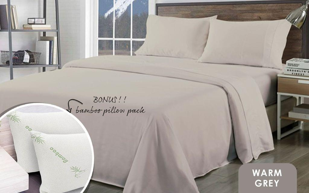 Royal Comfort Bamboo Blend Sheet Set 1000TC and Bamboo Pillows 2 Pack Ultra Soft - King - Warm Grey