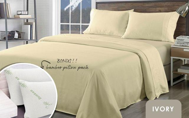Royal Comfort Bamboo Blend Sheet Set 1000TC and Bamboo Pillows 2 Pack Ultra Soft - Queen - Ivory