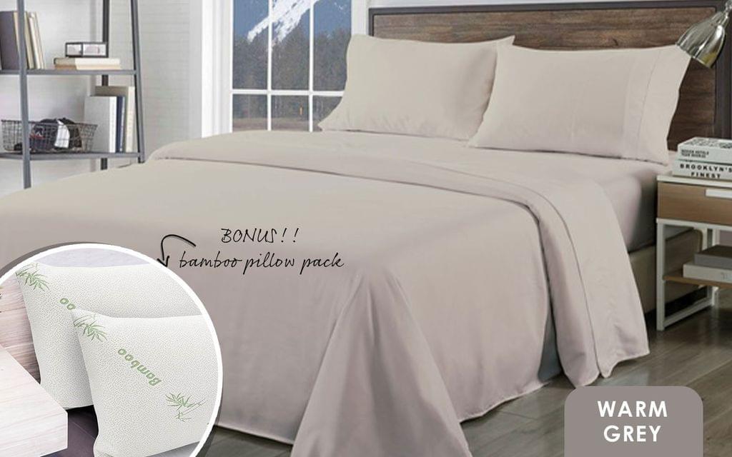 Royal Comfort Bamboo Blend Sheet Set 1000TC and Bamboo Pillows 2 Pack Ultra Soft - Queen - Warm Grey