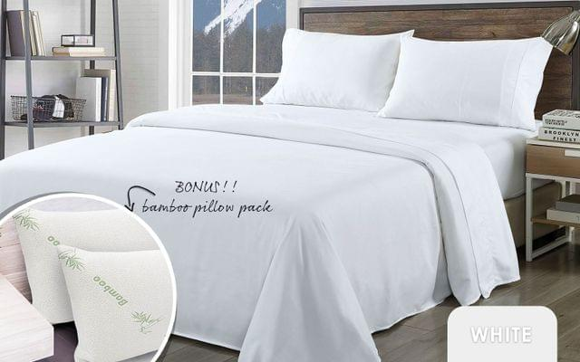 Royal Comfort Bamboo Blend Sheet Set 1000TC and Bamboo Pillows 2 Pack Ultra Soft - Queen - White