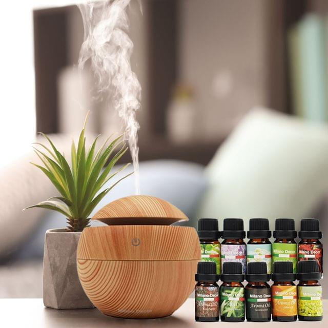 Milano Decor USB Aromatherapy Diffuser with 10 Pack of Aroma Oils Light Wood Grain