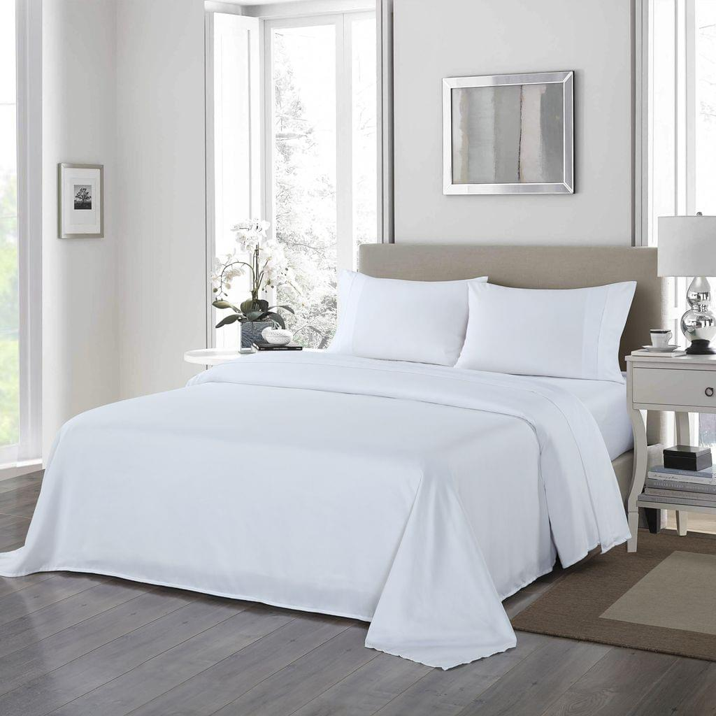 (QUEEN) Royal Comfort 1200 Thread Count Sheet Set 4 Piece Ultra Soft Satin Weave Finish  White