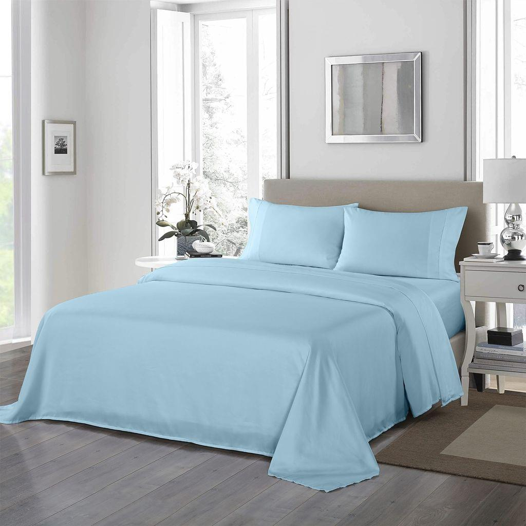 Royal Comfort 1200 Thread Count Sheet Set 4 Piece Ultra Soft Satin Weave Finish  Sky Blue