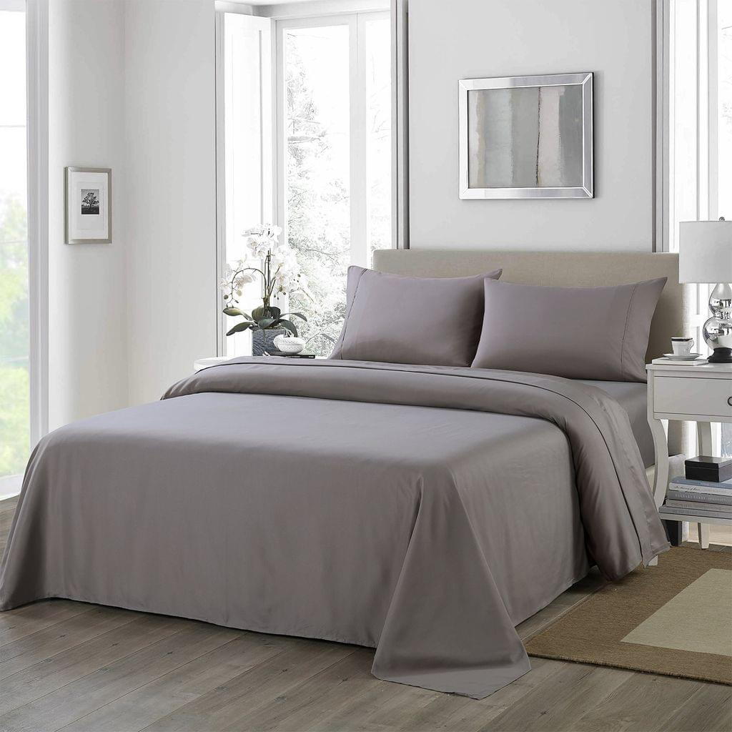 (QUEEN) Royal Comfort 1200 Thread Count Sheet Set 4 Piece Ultra Soft Satin Weave Finish  Charcoal
